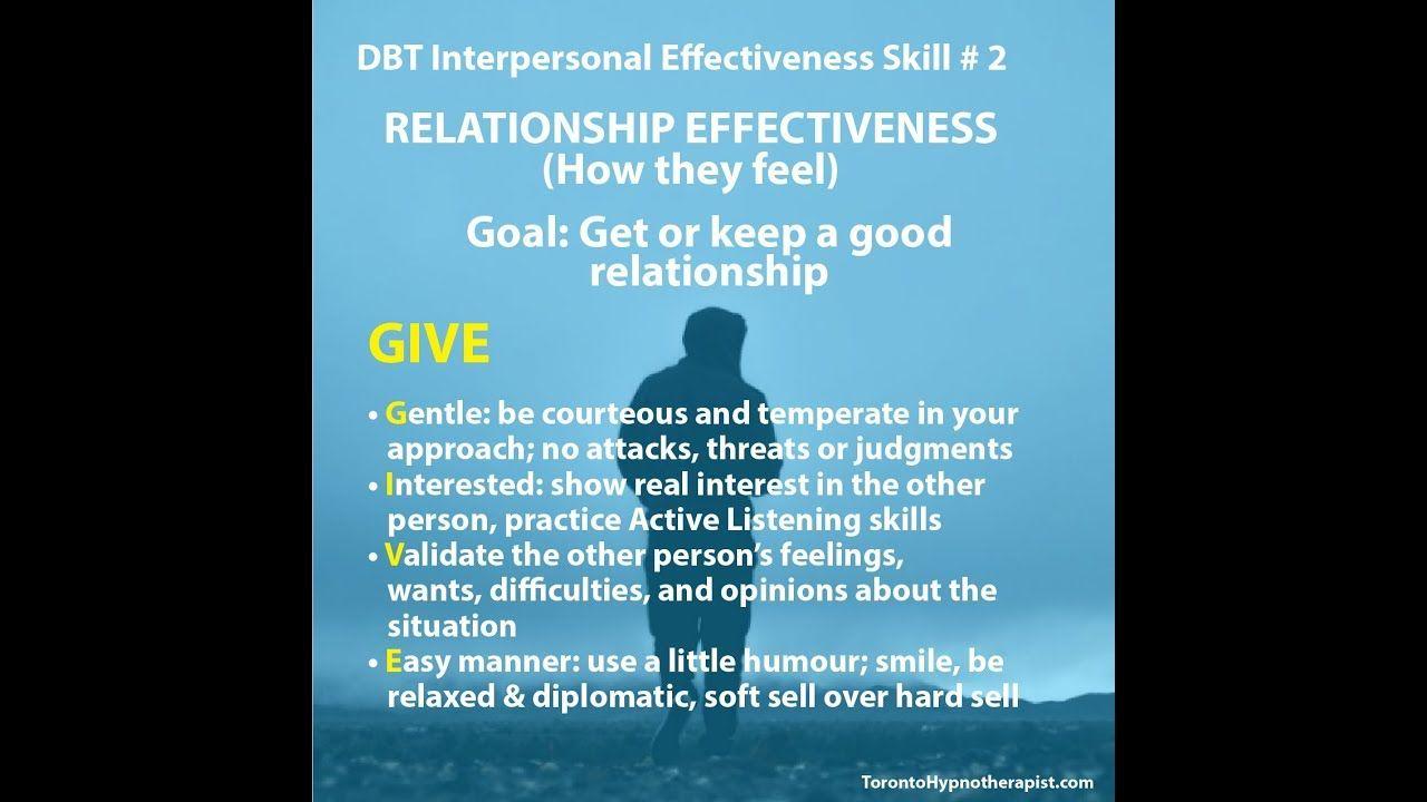 Dbt Interpersonal Effectiveness Skill 2 Relationship Effectiveness Interpersonal Effectiveness Dbt Skills Listening Skills