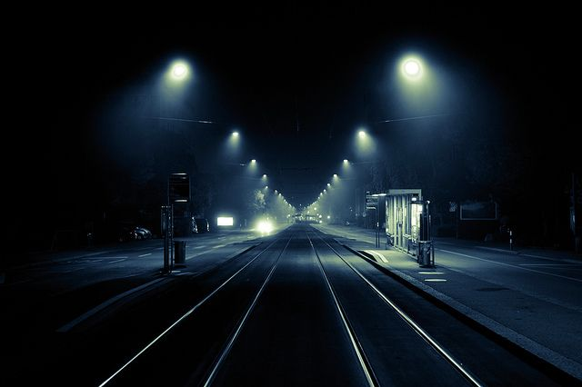Eerie Urban Misty Night Photography Photography Landscape - City streets glow in eerie night time photographs by andreas levers