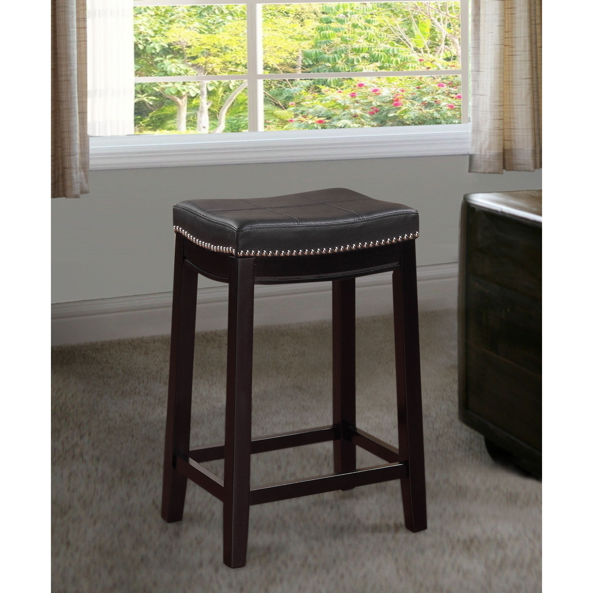 Linon manhattanesque backless counter stool with black vinyl seat claridge black counter stool rubberwood