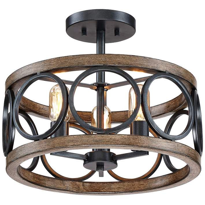"Amps Plus: Salima 16"" Wide 3-Light Black And Wood Grain Ceiling Light"
