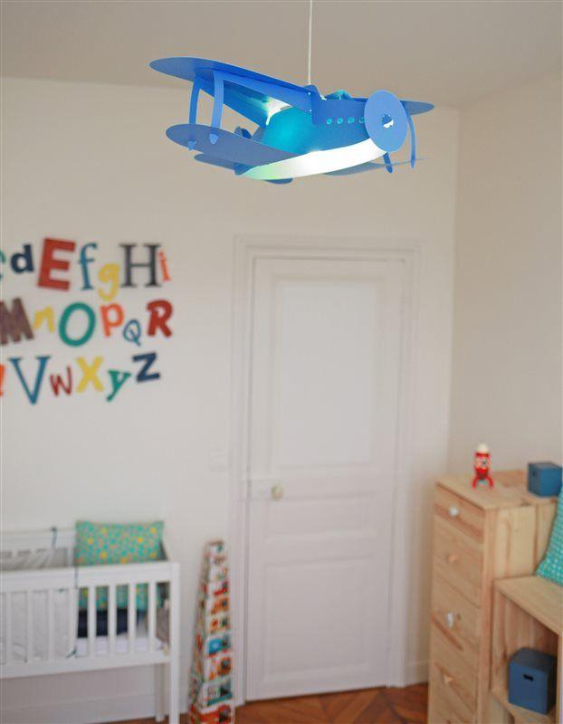 Lampe suspension enfant Avion Bleu, Création Française RM Coudert