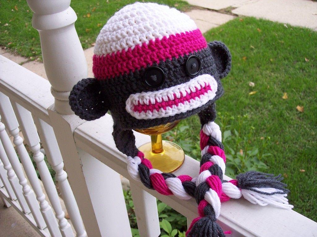 Crochet Sock Monkey Earflap Beanie Hat - Free Pattern | Crochet Away ...