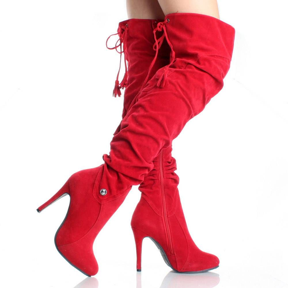 Thigh Boots Shoe | Red Thigh High Boots Over The Knee Tall Womens ...