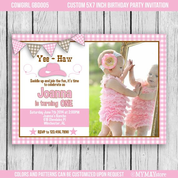 Cowgirl birthday invitation bright first birthdayfree color and cowgirl birthday invitation bright first birthdayfree color and pattern customization 5x7 or filmwisefo