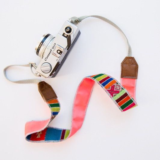 "LOVEBIRDSLA~ colorful camera strap  100% leather accent striped hand woven fabric with pop colored backing silver webbing~100% adjustable strap 57"" *Please note these are all made from handwoven fabrics. Each piece is unique in its own way and may have different variations from what is photographed."