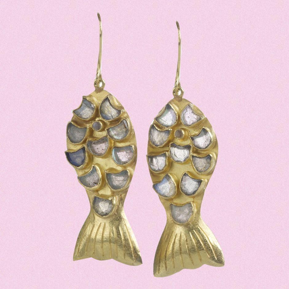 Kathy Leeds say, Pippa Small - Labradorite Fish Earrings ~ wore them ...
