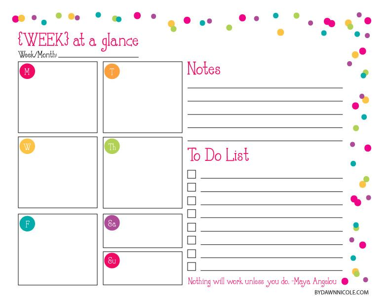 free organizational printables daily weekly a daily to do list with spots