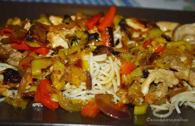 Mis recetas de cocina: Fideos chinos con pollo a la Fanta de naranja  y v...