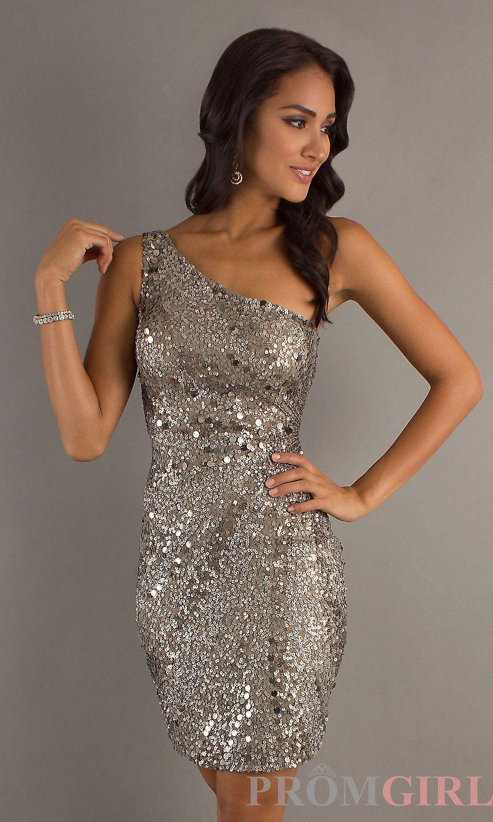 One Shoulder Sequin Cocktail Dress, Short Sequin Dress- PromGirl ...