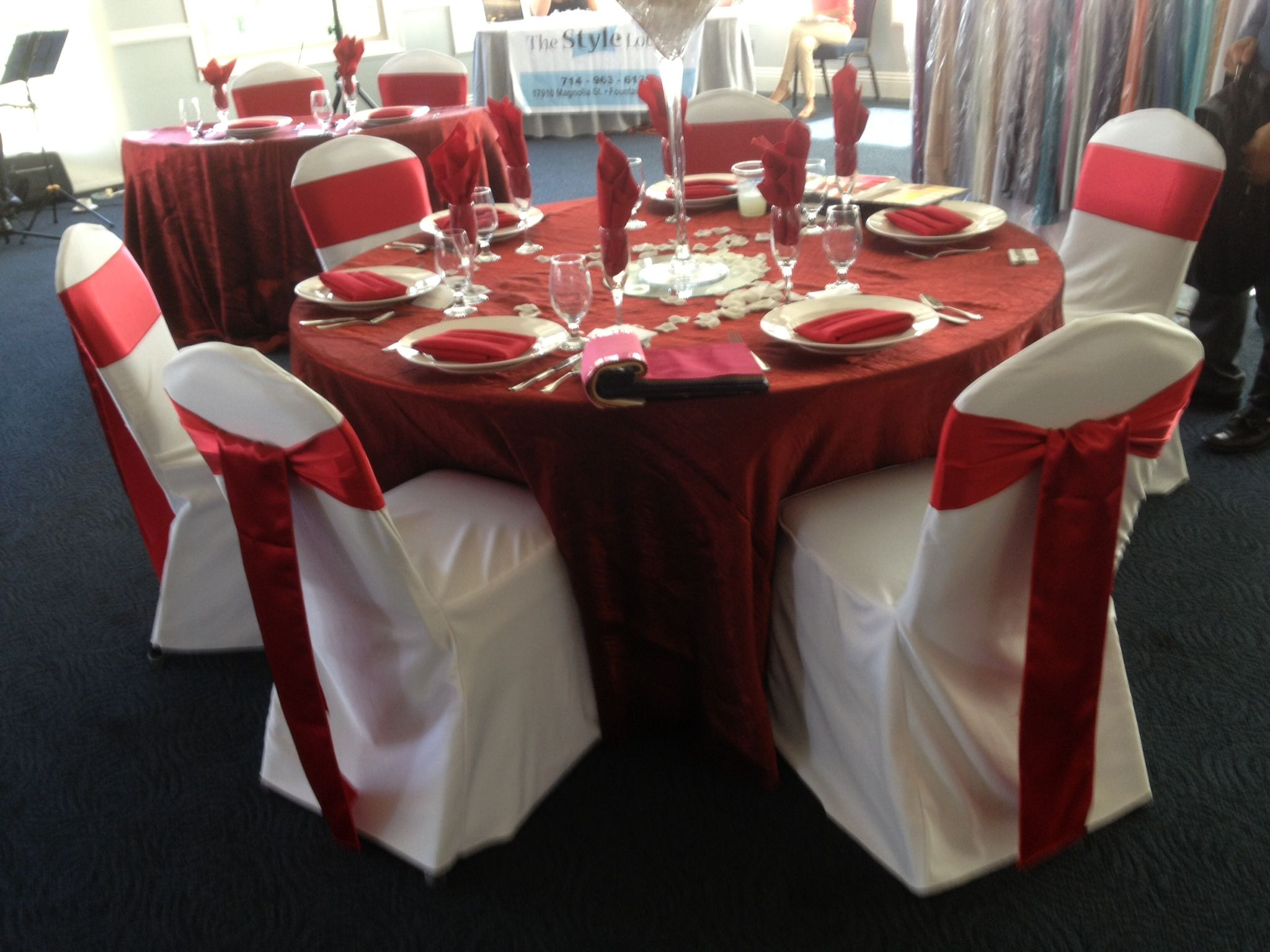 White Chair Cover And Red Sash #chaircovers #chaircover