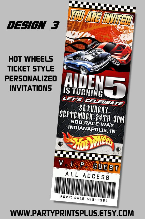 Hot Wheels Invitations Personalized Theme Birthday Party Ticket ...