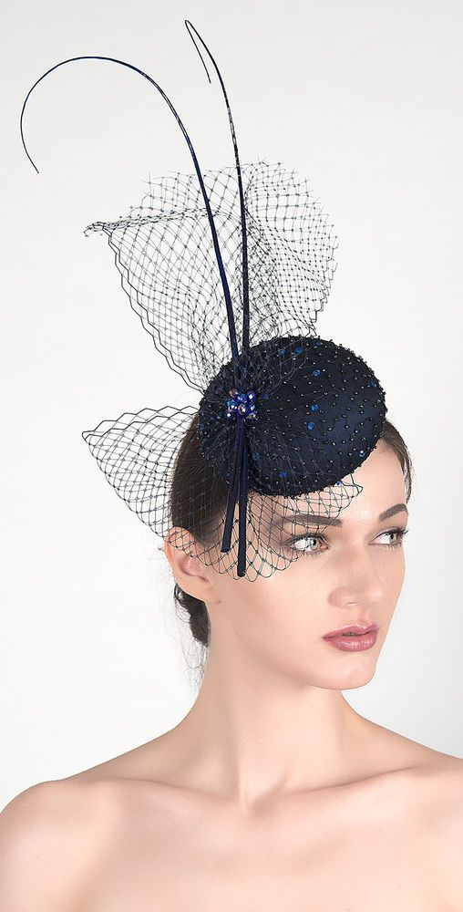 Navy Blue Crystals Veiled Beaded Silk Fascinator Headpiece Niccy Cocktail Hat | eBay
