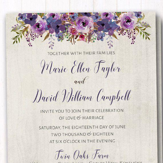 Purple Rustic Wedding Invitations: Purple Wedding Invitation