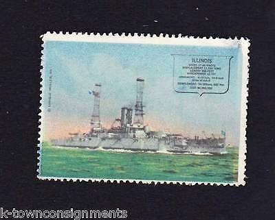 Uss illinois naval battleship vintage enrique muller graphic postage