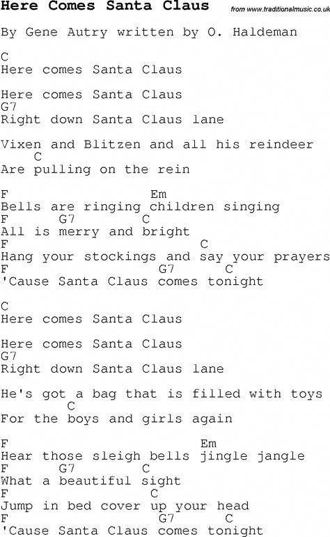 Christmas Songs and Carols, lyrics with chords for guitar banjo for Here Comes Santa Claus # ...