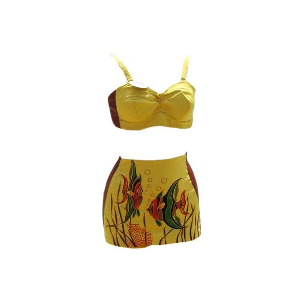 1a0d1b1c22 Vintage Swimwear Expert Pam Fierro Explains How Bathing Suits Got... ❤  liked on Polyvore featuring bathing suits and yellow