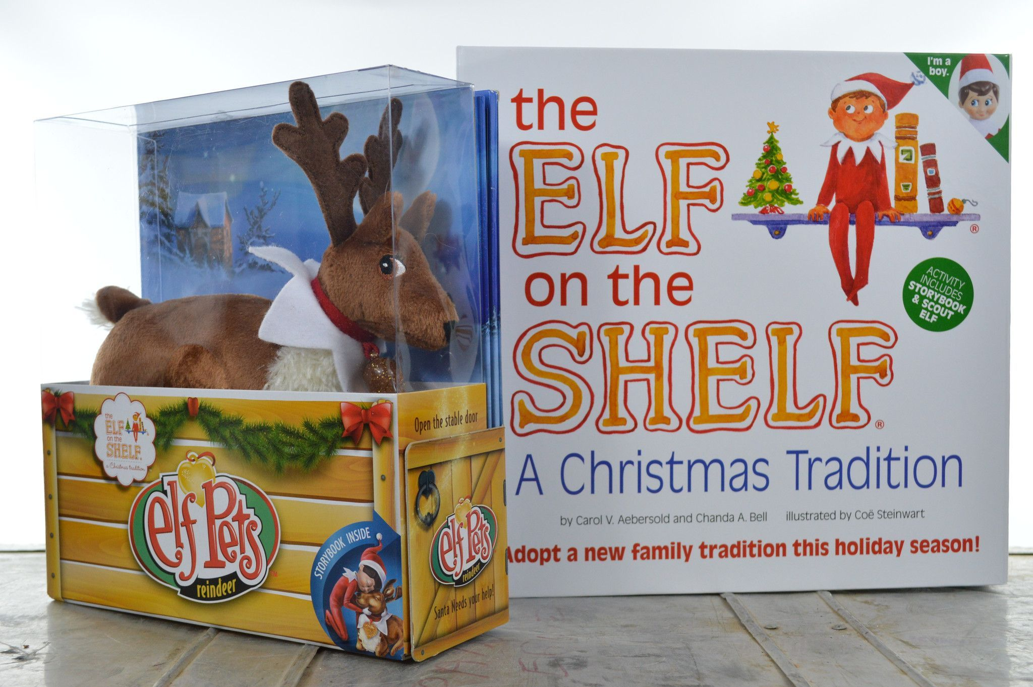 Elf on the Shelf with Push Reindeer Story Book Boy Elf Scout Set ...