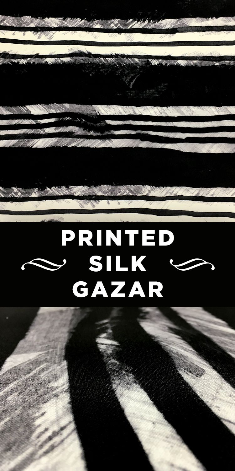 Black and White Abstract Painted Stripe Printed Silk Gazar