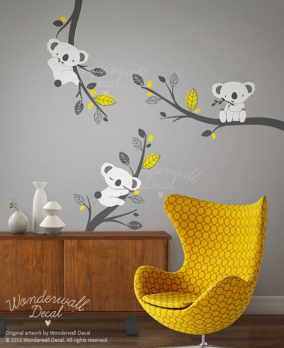 Nursery Wall Decal - Grey Koala Bear wall decal on branches wall - stickers chambre bebe garcon pas cher