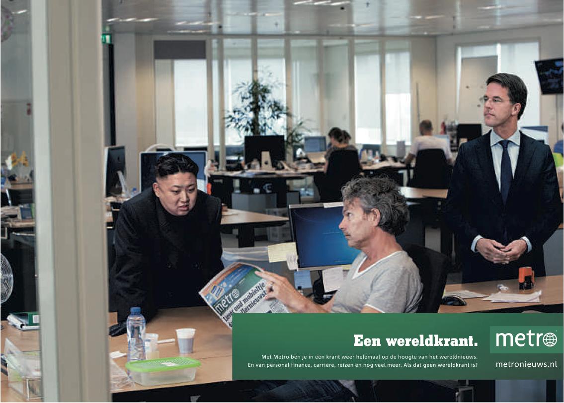 Mark Rutte in reclame voor Metro portretrecht van