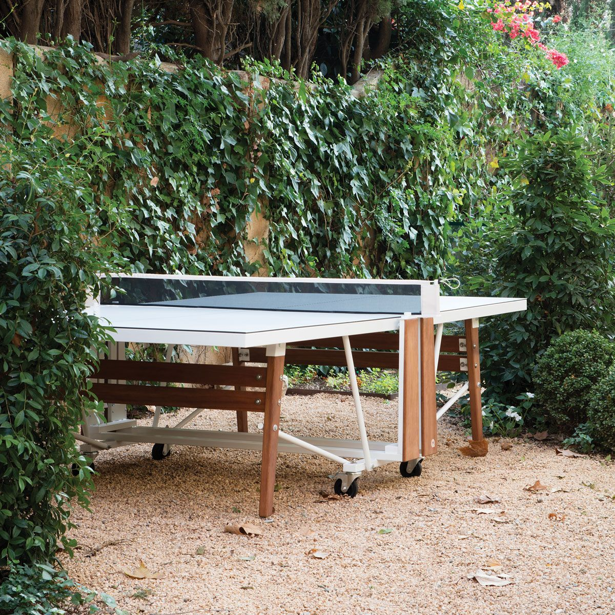 Folding outdoor ping pong table white outdoor game