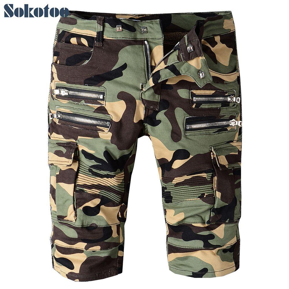 e700e805eb4 Sokotoo Men s summer camouflage zippers pleated biker jeans for moto Casual  pockets cargo pants Denim knee length shorts