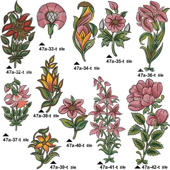 Persian flower drawings