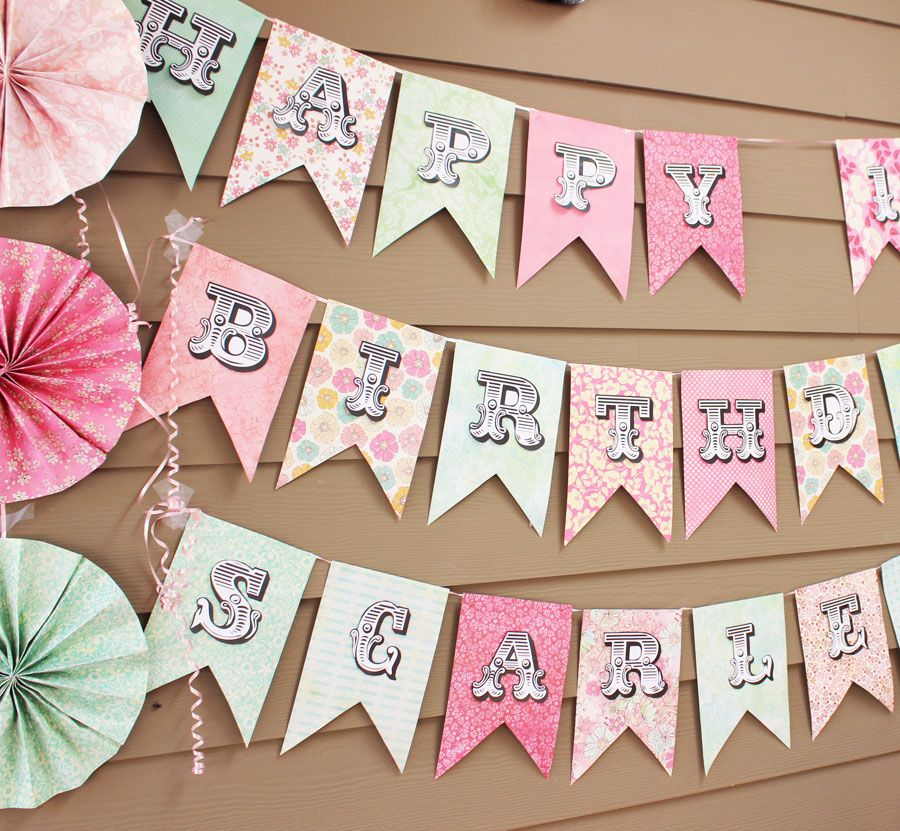 Scrapbooking Paper Banner Sign Diy birthday banner DIY Birthday