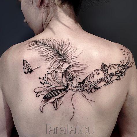 tattoo tatouage taratatou masque plume lys flower fleur dentelle filigrane paris. Black Bedroom Furniture Sets. Home Design Ideas