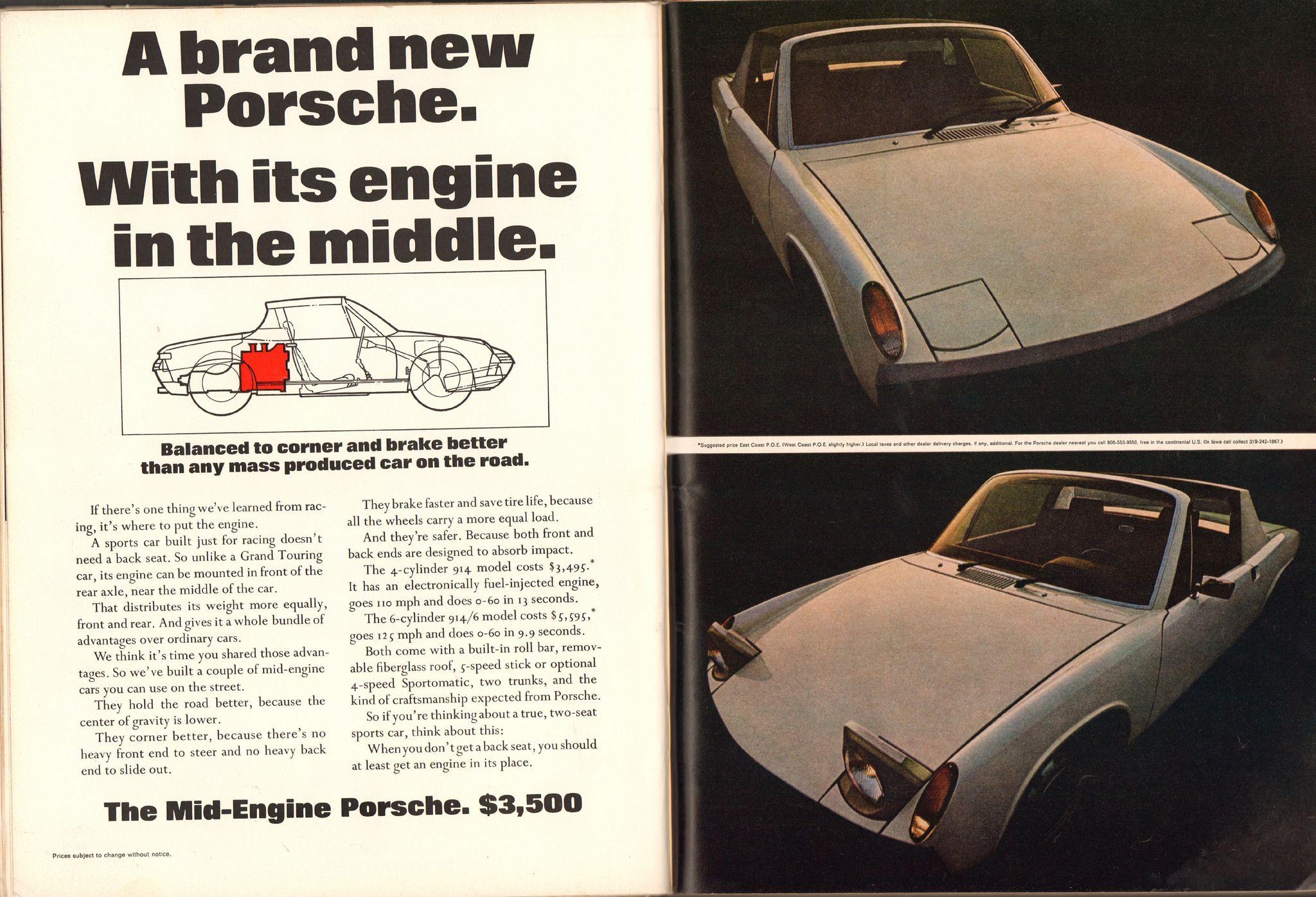1970 Porshe 914 Advertisement Playboy December 1969 Porsche 914