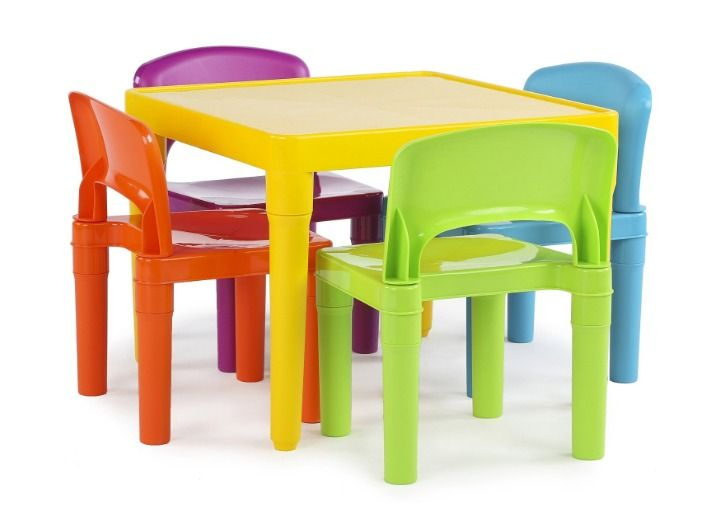 Kids Children Plastic Table Tot Tutors And 4 Chairs Set Vibrant