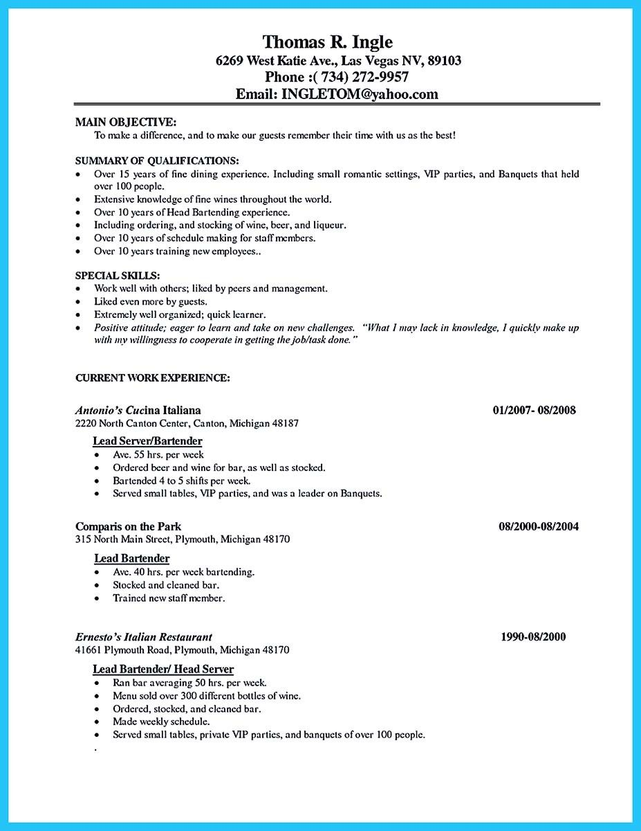 Best Bartender Resume Fair Awesome Impress The Recruiters With These Bartender Resume Skills .