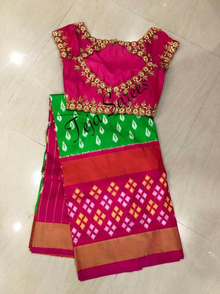 82cbae16b1f7d Ikkat pattu saree with work blouse Saree Blouse Models