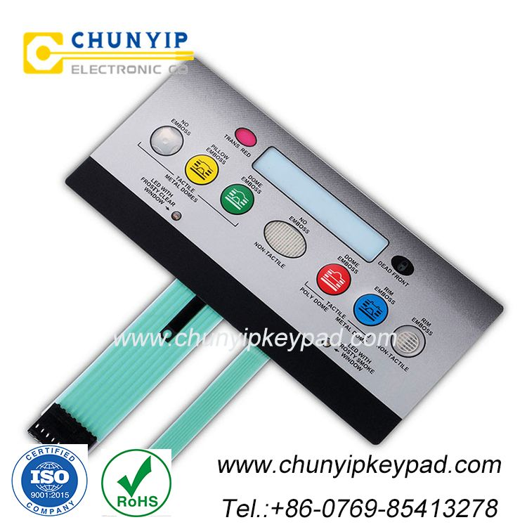 Led 6 button keypad membrane switch with small window