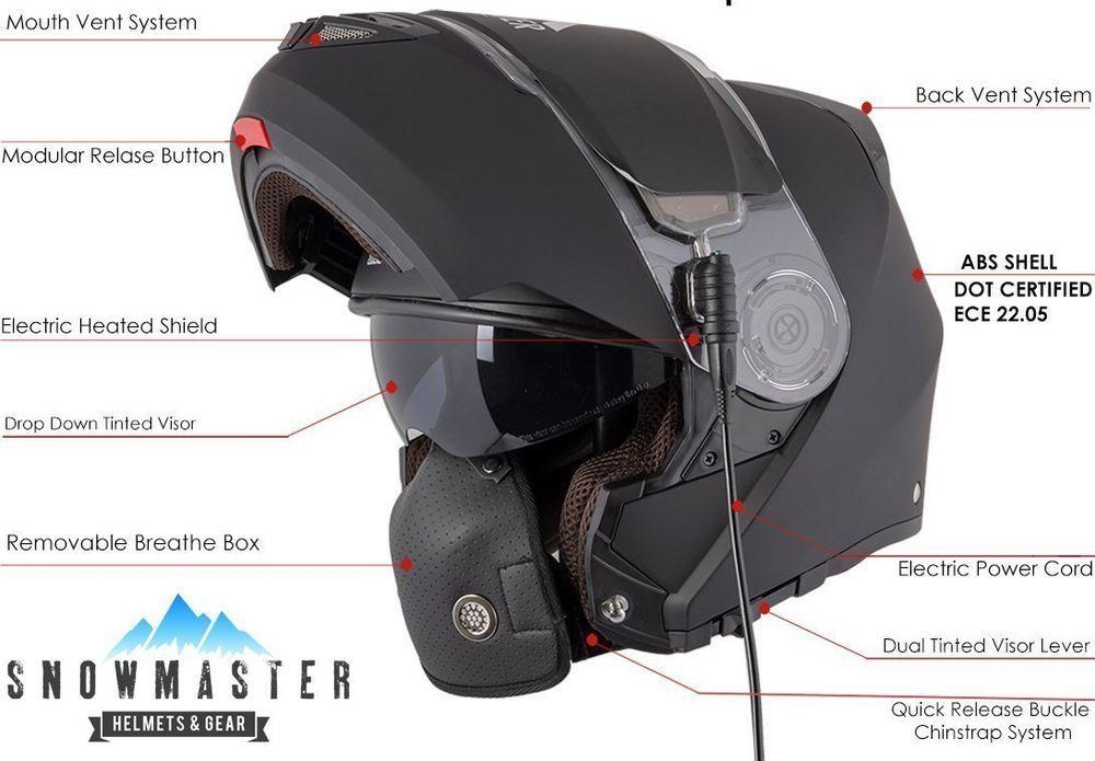Snow Master Tx 50 Flat Black Modular Heated Shield Snowmobile Helmet Or Extras Snowmaster Modulardualvisorsnowm Snowmobile Helmets Matte Black Helmet Helmet
