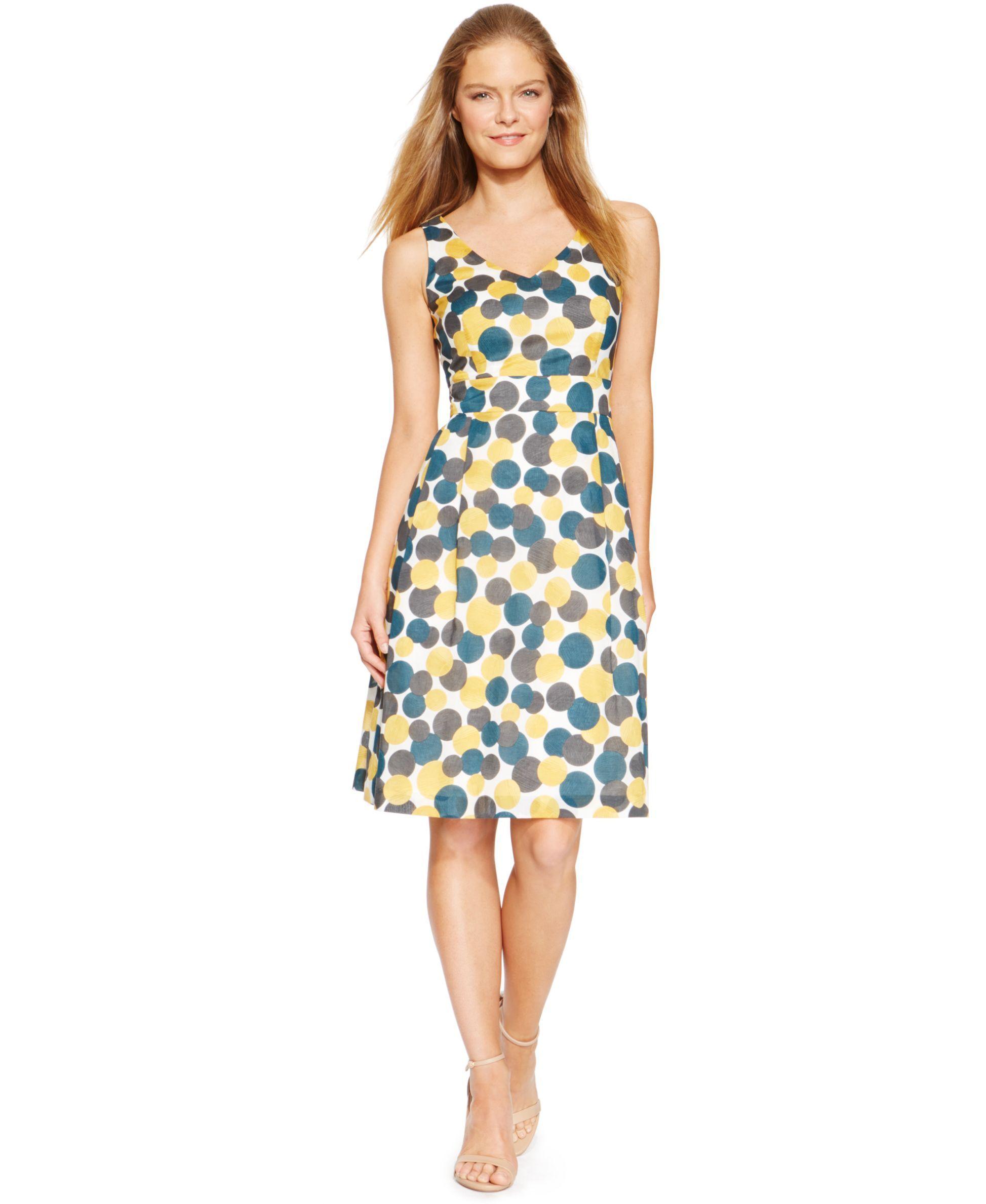 Anne klein circleprint empirewaist woven aline dress products