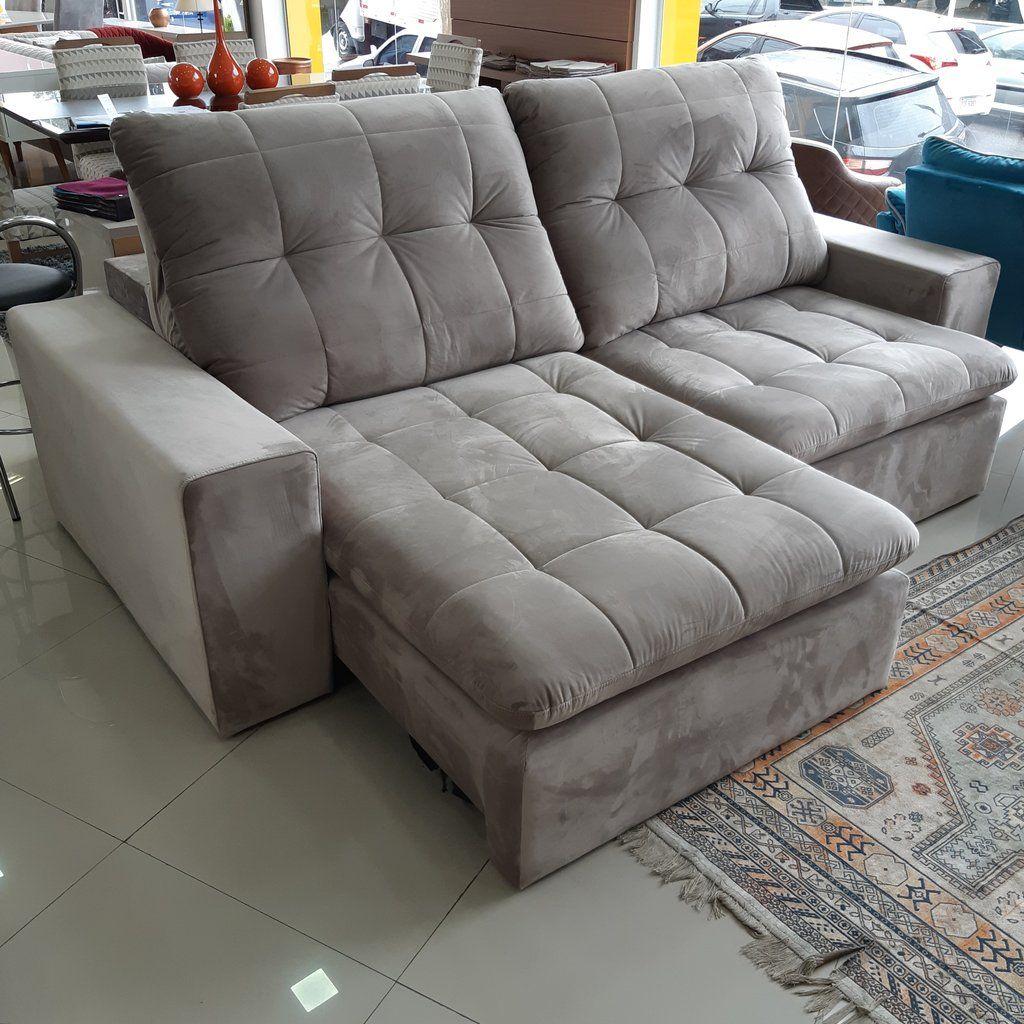 Sofa Retratil E Reclinavel San Marino Veludo Cinza Medida 2 50m