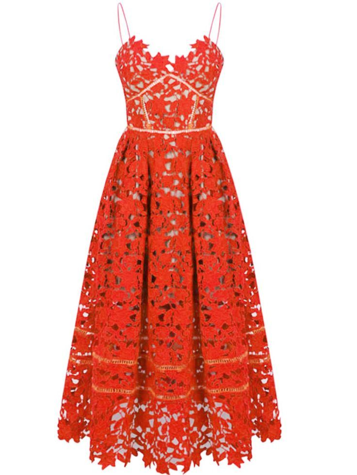 efa03f3b851 Red Spaghetti Strap Backless Lace Crochet Dress