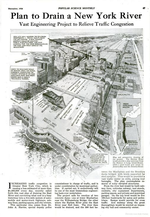 Retro New York Futurism Plan To Drain The East River Organization
