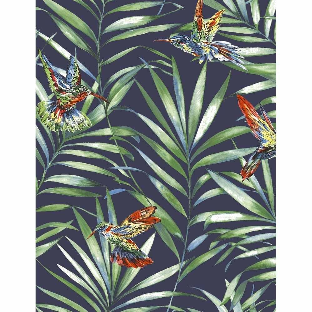 Graham & Brown Fresco Hummingbird Navy Tropical Floral