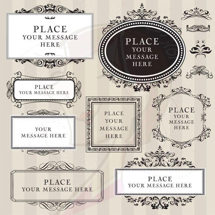 Vintage Digital Frames Black Ornate DIY Wedding Invitation