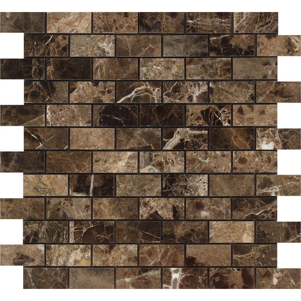 1 X 2 Polished Emperador Dark Marble Brick Mosaic Tile In