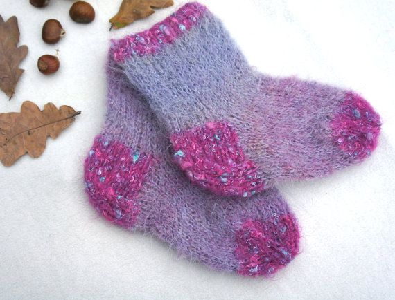 Hand Knitted Baby Sockspink Violet Mohair By Ksyuknitting On Etsy