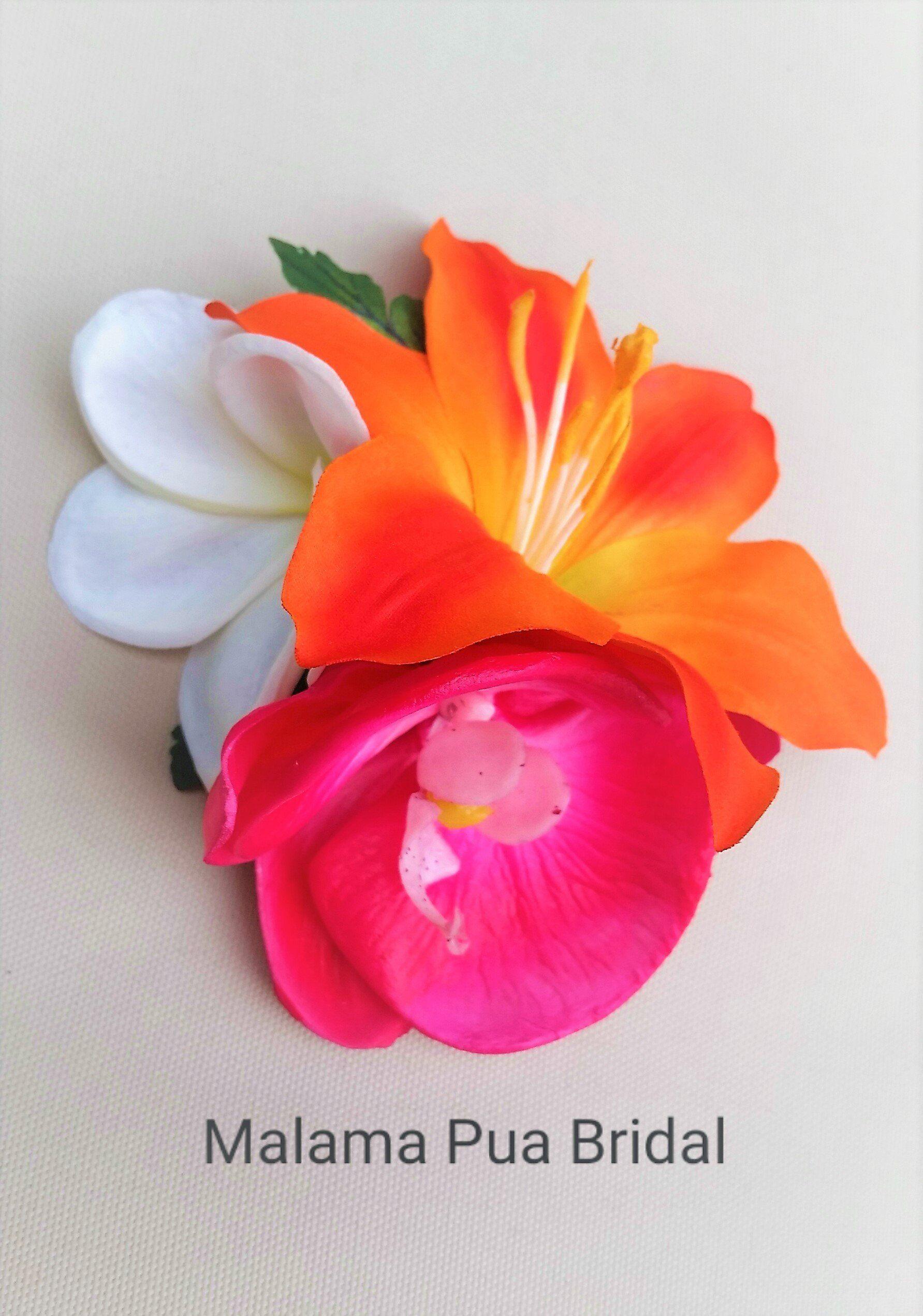 Tropical Hawaiian Hair Clip With Real Touch Orchids And Plumeria Silk Hair Flower Flowers In Hair Hawaiian Flower Hair