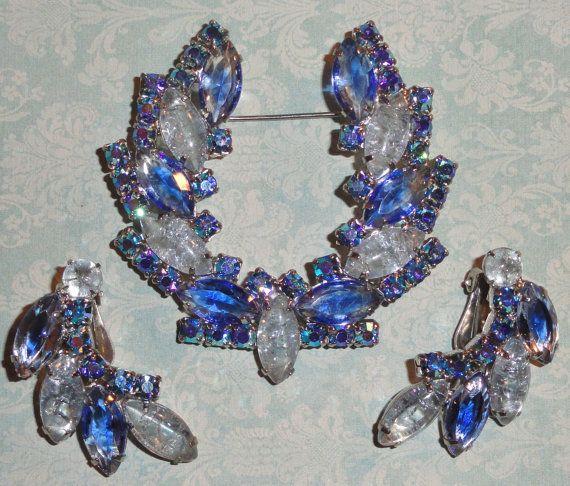 D&E JULIANA DeLizza Elster Blue Aurora Borealis Rhinestone Brooch Earrings Set. by Delightfuldesires4u, $60.00