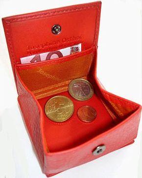 Leder Geldbörse Caré Rot mit Wiener Schachtel  Portemonnaie Geldbeutel Münzbox