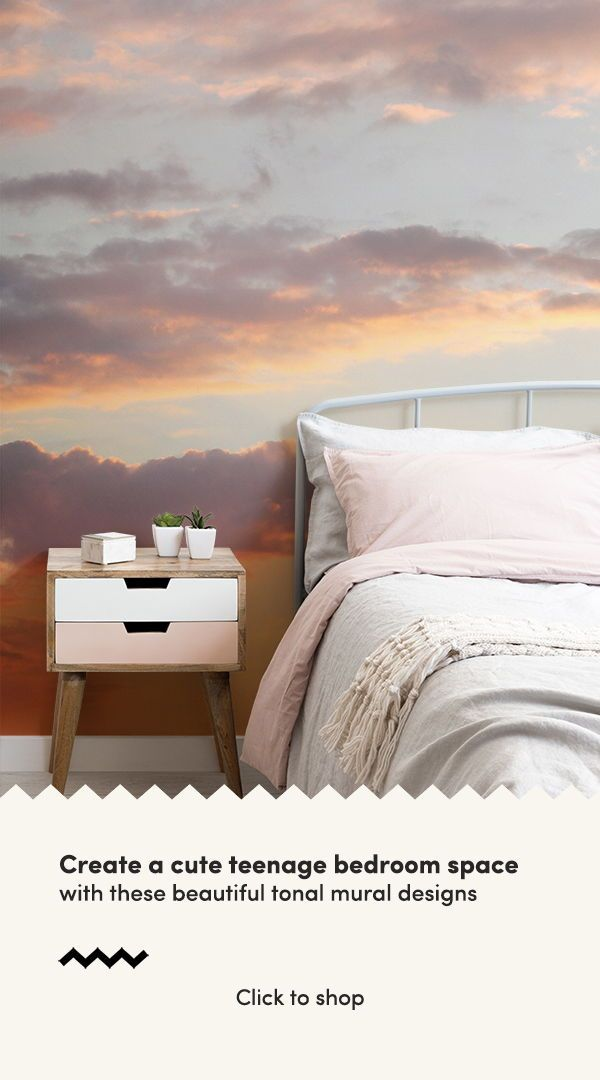 Create A Beautifully Serene Space With These Sunset Wallpaper Ideas For A Cute Girl Feature Wall Bedroom Wallpaper Bedroom Feature Wall Girls Bedroom Wallpaper