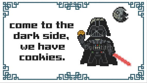 Come to the darkside, we have cookies cross stitch pattern