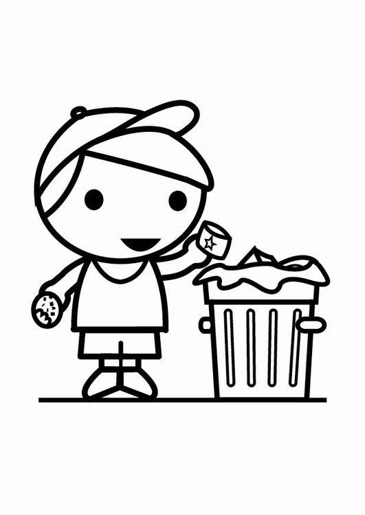 Dibujo para colorear basura en el cubo de basura guardado - new tabla periodica en blanco y negro pdf