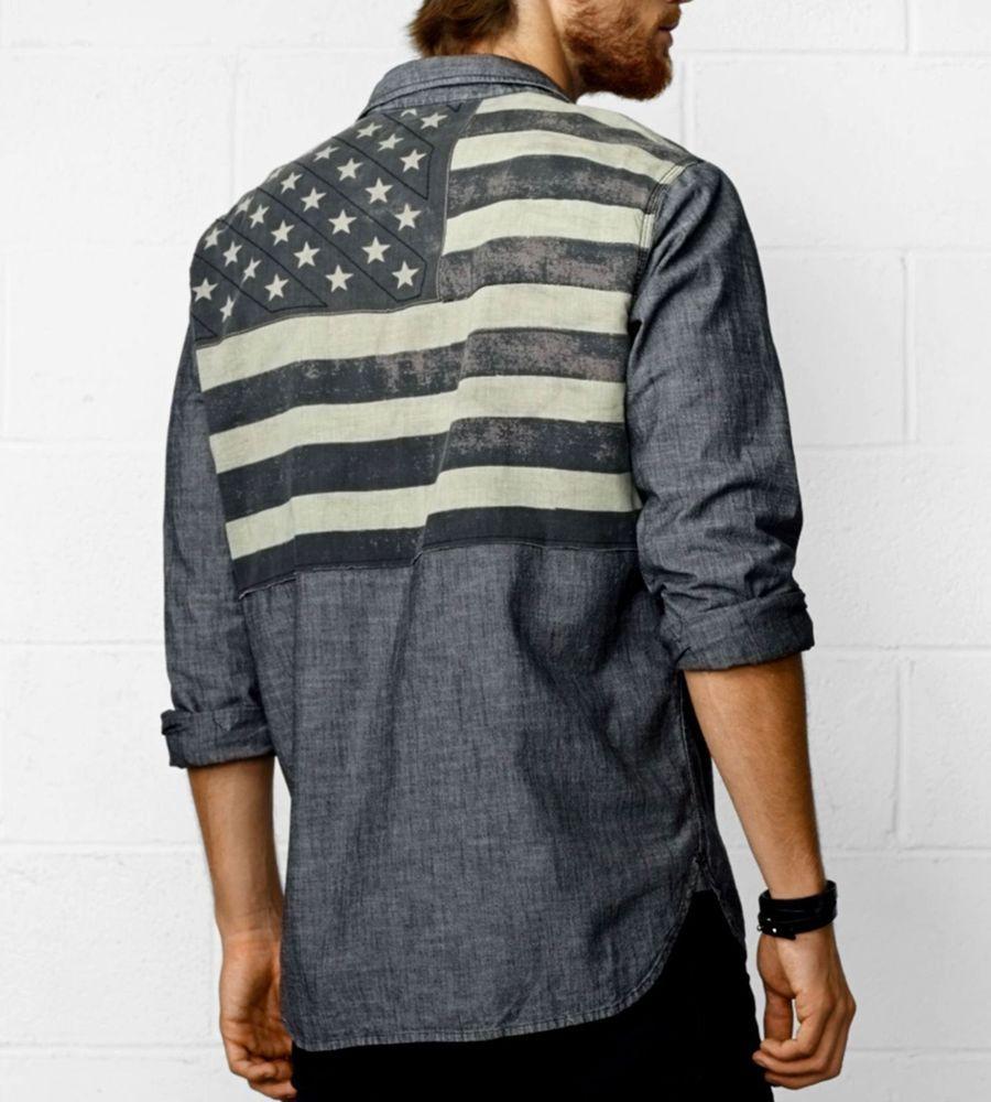 46dda8d710605 NWT Ralph Lauren DENIM & SUPPLY Distressed Shirt BLACK American Flag USA  Mens M #DenimSupplyRalphLauren #ButtonFront